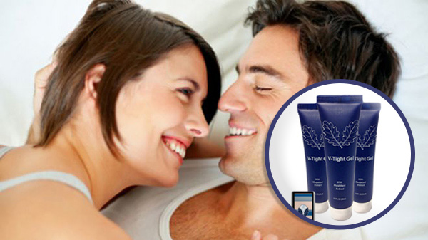 happy couple using v tight gel