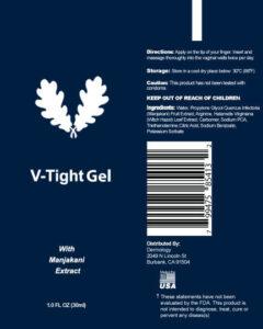 v tight gel ingredients label